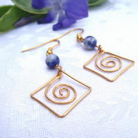 Denim Lapis Lazuli & Gold Plated Wire Earrings