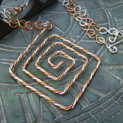 Twisted Copper,Gold Plate & Silver Plate Wire Pendant Necklace