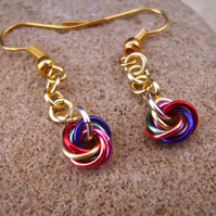 Chainmaille Mobius Multicolour Rainbow Earrings