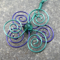 Spiral Wire Flower Pendant Necklace