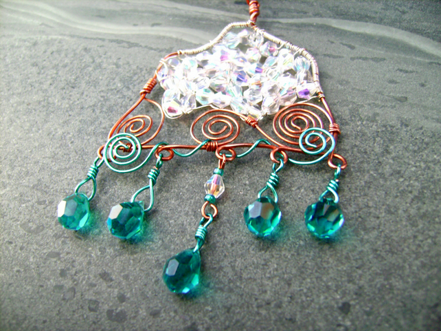 Snow Capped Raindrop Mountain Lake Copper Wire Crystal Pendant Necklace
