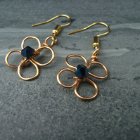 Flower Earrings Golden Crystal Blue  Gift