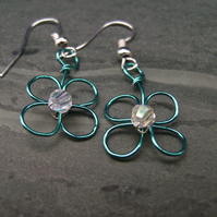 Wire Flower Earring Blue ONE DAY SALE only today!