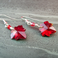 ONE DAY SALE  less than half price! Siam Red  Leaf Crystal Earrings