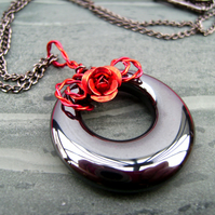 Valentine Rose Red Hematite Ring Necklace