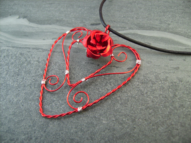 Filigree Red Wire Heart Pendant Necklace
