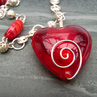 Red Valentine Heart & Silver plated Wire Spiral Necklace