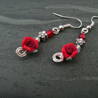Rose Red  Flower Earrings