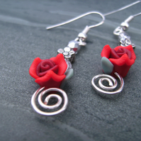 Red Rose Valentine Earrings