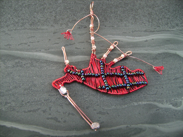 Scottish Copper Wire Bagpipes Burns Night Pendant Necklace
