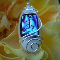 Ice Pool, blue dichroic & white fused glass pendant necklace