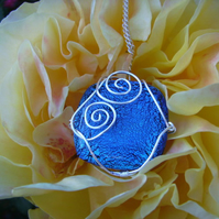 Spiral Splash, blue dichroic glass silver plated wire wrapped pendant necklace