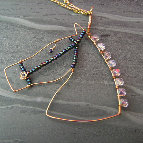 Wire Horse Crystal  Pendant Necklace-Golden Gallop