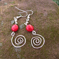Red coral bead and silver plated wire earrings