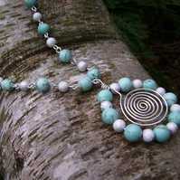 Turquoise & silver plated bead & wire spiral necklace