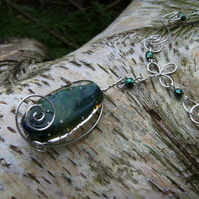 Swirly Ocean (sterling silver wire & lampwork necklace)