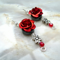 DO NOT BUY except for arranged customer of Custom Order Red Rose Flower earrings