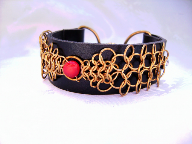 Leather chainmail coral & brass cuff bracelet