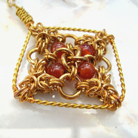 Carnelian Chainmail Pendant Necklace