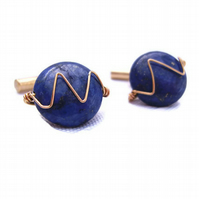 Mens Cufflinks Lapis Lazuli Semiprecious Gemstone & Wirework