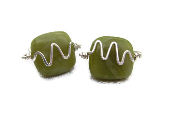 Mens Cufflinks Nephrite Jade Semiprecious Gemstone & Wirework