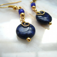 Lapis Lazuli  & Gold plated wire spiral earrings