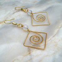 Moonstone Golden Spiral wirework earrings