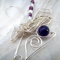 Amethyst Angel Amulet Necklace in silver plated wire work