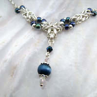 Chainmail Blue Cats Eye Necklace