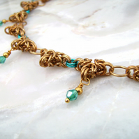 Chainmaille Byzantine Desert Blue Choker Necklace