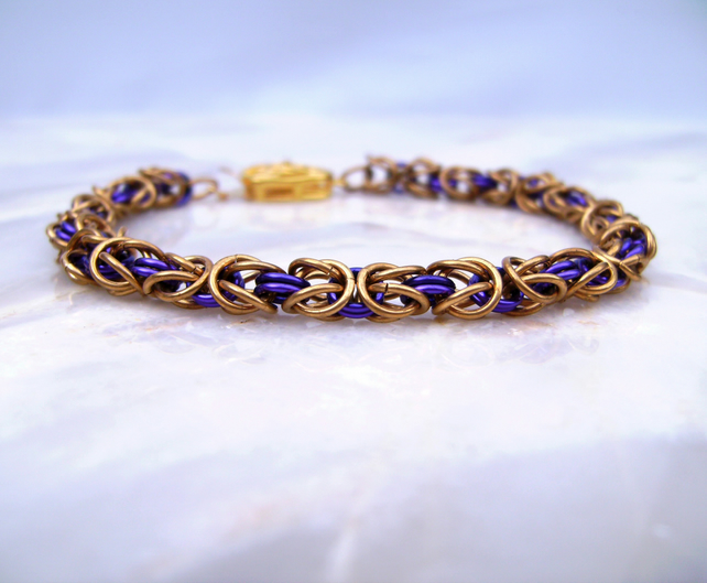 Byzantine Medieval Style Chainmail  Purple Gold Bracelet