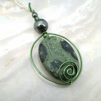 Potion Bottle Wire Kambaba Jasper Pendant Necklace