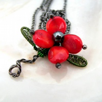 Red Flower Coral & Haematite Pendant Necklace