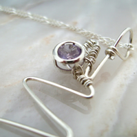 Amethyst & Sterling Silver Zig Zag Spiral Pendant Necklace
