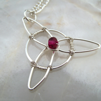 Triquetra Swarovski Crystal Wire Pendant Necklace
