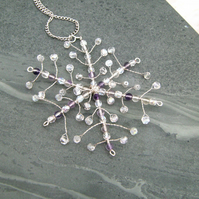 Snowflake Fluorite & Crystal Wire Pendant Necklace