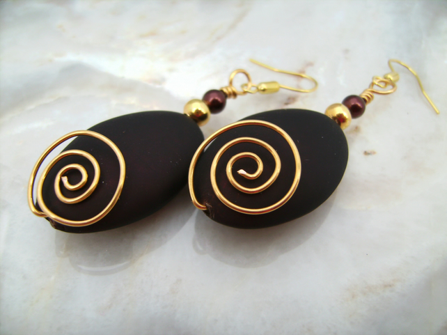 Wire & Brown Acrylic Bead Earrings