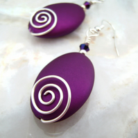 Silver plated Wire & Purple Acrylic Bead Earrings