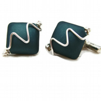 Cufflinks in Teal Blue Acrylic Bead & Silver Plated Wire