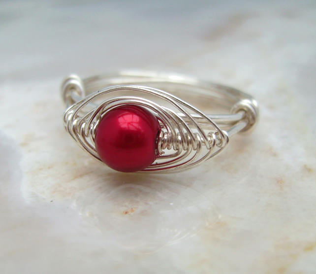 Wire Wrapped Ring with Red Glass Pearl & Silver Plated Wire