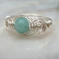 Wire Wrapped Ring with Amazonite & Silver Plated Wire
