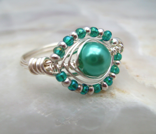 Wire Wrapped Ring with Blue Glass Pearl Bead