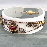 Filigree Wire & Leather Cuff Bracelet