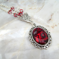 Paua Shell Red Chainmail Necklace