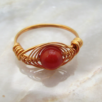 Carnelian & Gold Plated Wire Wrapped Ring