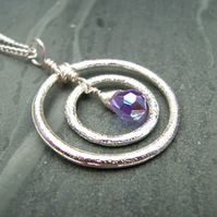 Silver Circle Crystal Pendant Necklace