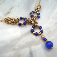 Blue Cats Eye Byzantine Chainmail Necklace