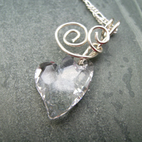 Crystal Clear Heart Sterling Silver Wire Spiral Pendant Necklace