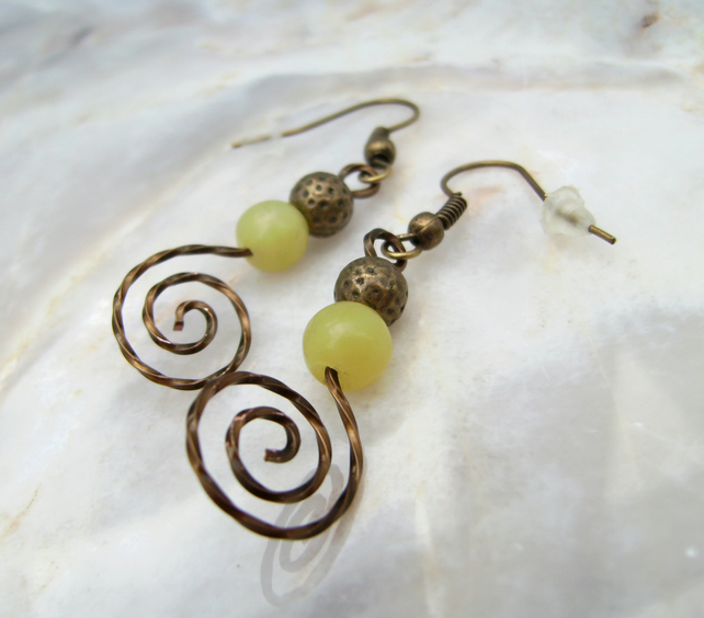 Vintage Bronze Spiral Agate Earrings