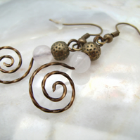 Vintage bronze wire spiral rose quartz earrings